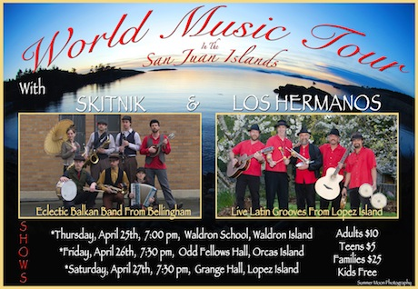 Poster for the Skitnik World Music tour with Los Hermanos in the San Juan Islands